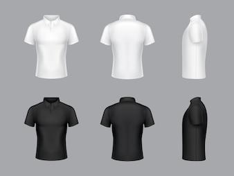 Sammlung von realistischen weißen und schwarzen Polo-T-Shirts 3d. Kurze Ärmel, Modedesign.