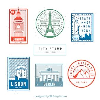 Sammlung von reise briefmarken mit denkmälern