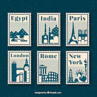 Sammlung von reise briefmarken mit städten