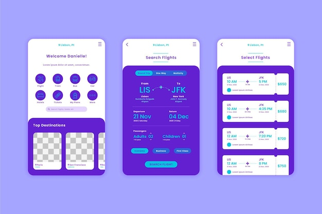 Sammlung von reisebuchungs-app-vorlagen