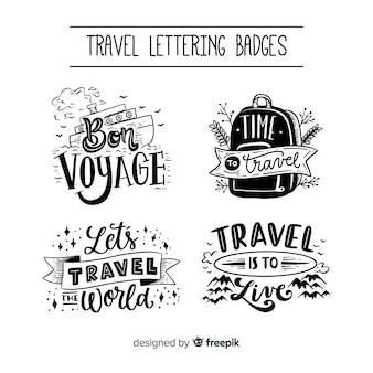 Sammlung von reisen schriftzug abzeichen