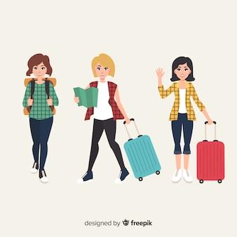 Sammlung von reisenden mädchen flachen stil
