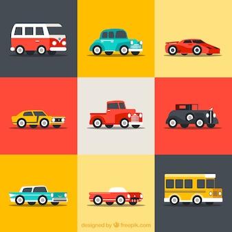 Sammlung von Retro-Autos