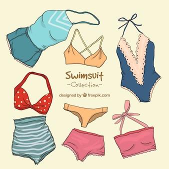 Sammlung von retro-badeanzug