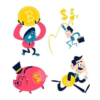 Sammlung von retro-cartoon-geschäftsaufklebern
