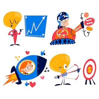 Sammlung von retro-cartoon-marketing-aufklebern