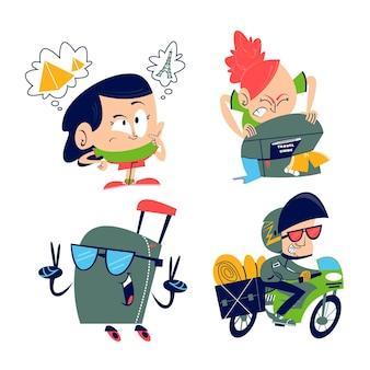 Sammlung von retro-cartoon-reiseaufklebern