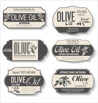 Sammlung von retro-etiketten aus olivenöl