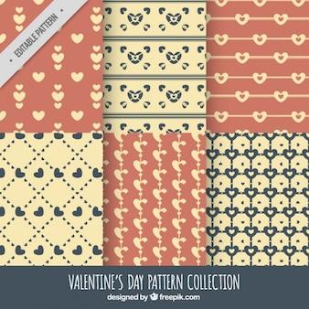 Sammlung von retro-muster valentin