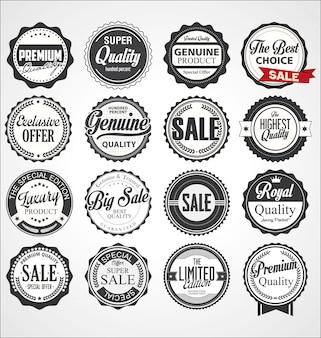 Sammlung von retro premium-abzeichen und etiketten