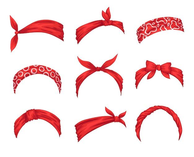 Sammlung von retro-stirnbändern für frauen. modelle von dekorativem haarknoten. windiges haarkleid mit rotem bandana. gebundenes taschentuch für frisuren.