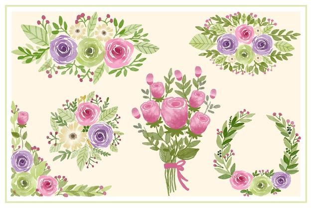 Sammlung von rosa blumen und blumenstrauß für dekorationseinladungs-aquarellillustration