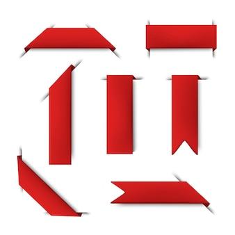Sammlung von roten lesezeichenbändern. symbolillustration auf weißem hintergrund.