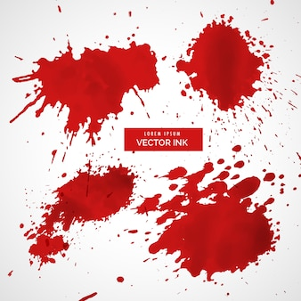 Sammlung von roten tintenspritzer vektor