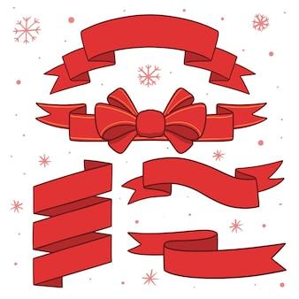 Sammlung von roten weihnachtsbändern