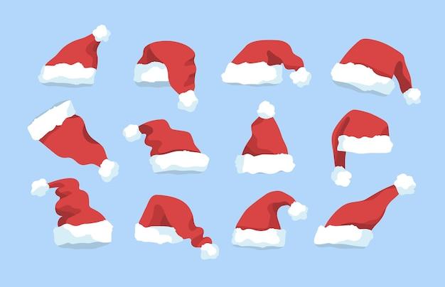Sammlung von roten wintermützen des weihnachtsmannes