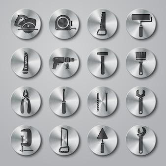 Sammlung von runden metallischen werkzeug-icons