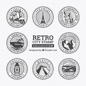 Sammlung von runden Retro-Briefmarken mit Sehenswürdigkeiten
