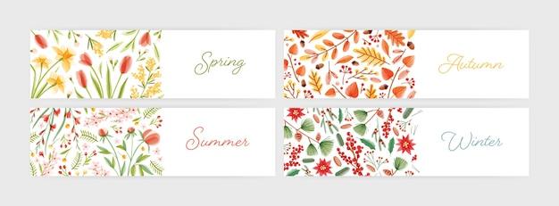 Sammlung von saisonalen horizontalen bannervorlagen mit saisonnamen, die mit kursiver schrift, blumen und pflanzen geschrieben sind