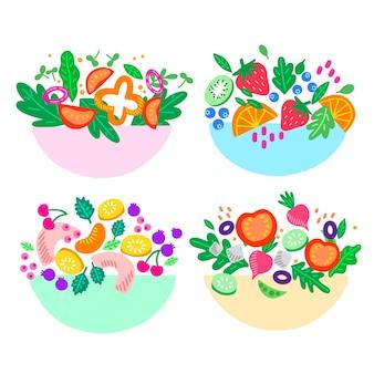 Sammlung von salat- und obstschalen
