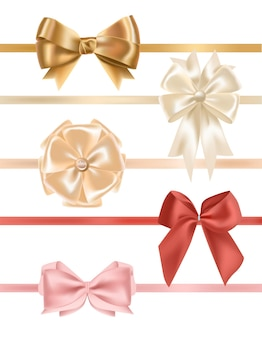 Sammlung von satinbändern mit schleifen verziert. bündel eleganter dekorativer designelemente. satz festliche geschenkdekorationen lokalisiert auf weißem hintergrund. bunte realistische vektorillustration.