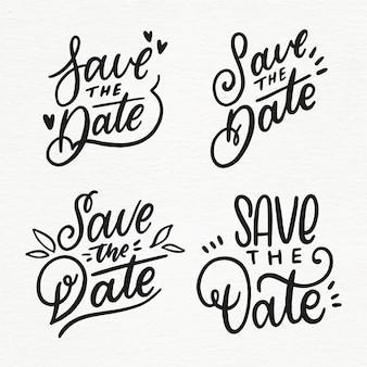 Sammlung von save the date-schriftzügen