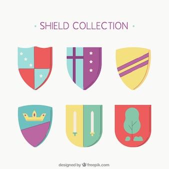Sammlung von schilden mit symbolen