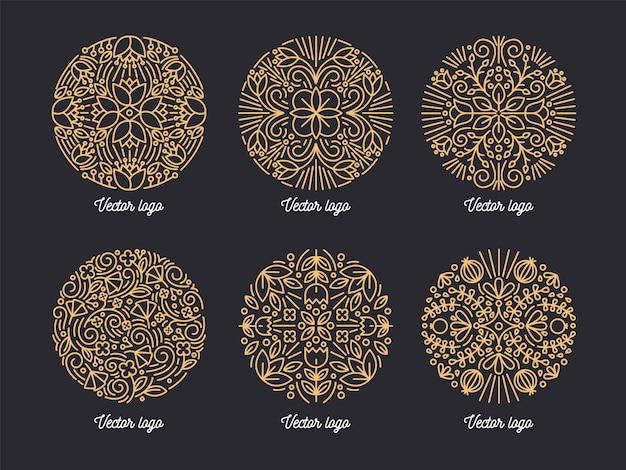 Sammlung von schönen goldenen runden ornamenten