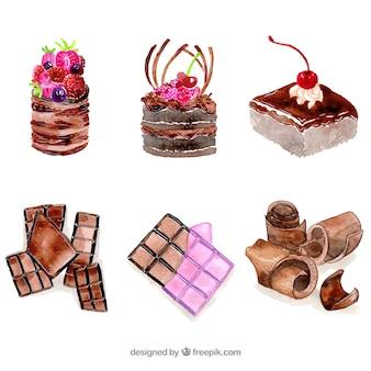 Sammlung von schokoriegeln und desserts