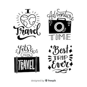 Sammlung von schriftzug reiseabzeichen