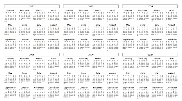 Sammlung von schwarz-weiß-kalendern Kostenlosen Vektoren