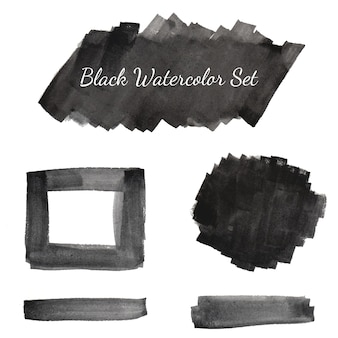 Sammlung von schwarzen aquarell-set