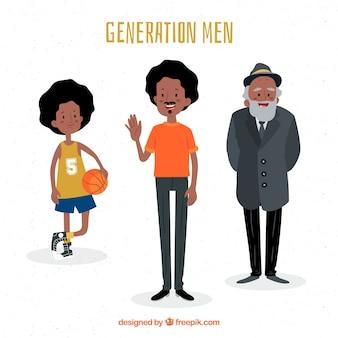 Sammlung von schwarzen Männern in verschiedenen Altersstufen