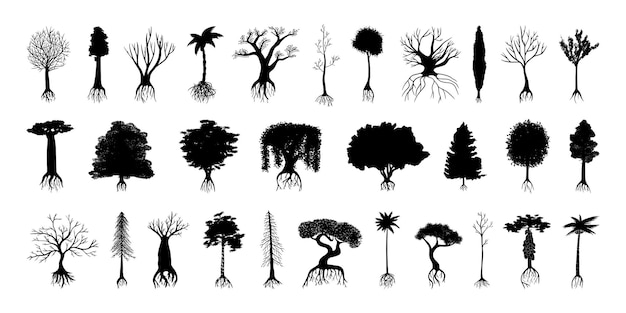 Sammlung von schwarzen silhouetten von bäumen