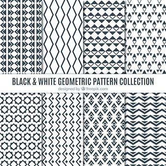 Sammlung von schwarzen und weißen geometrischen mustern