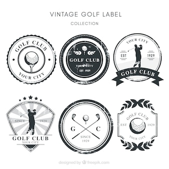 Sammlung von schwarzen und weißen golf-etiketten