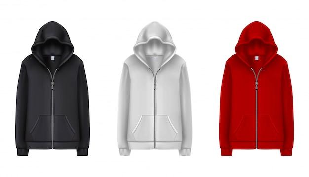 Sammlung von schwarzen, weißen und roten sport-hoodies. illustration auf weißem hintergrund.