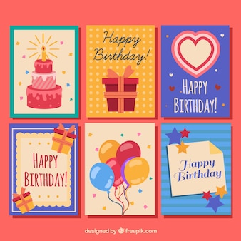 Sammlung von sechs bunten glückwunschkarten im flachen design