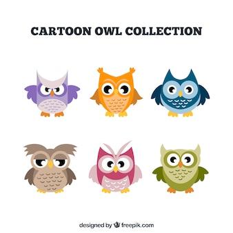 Sammlung von sechs bunten karikatureulen