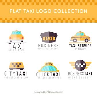 Sammlung von sechs flachen stil logos für taxiunternehmen