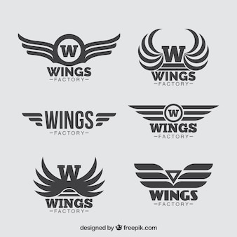 Sammlung von sechs flügel logos in flachen design