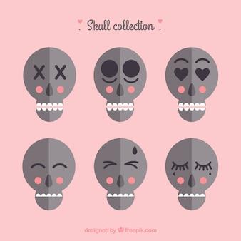 Sammlung von sechs hübschen schädel in flaches design