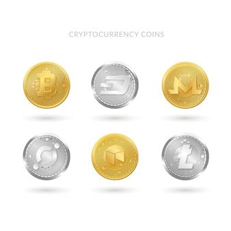 Sammlung von sechs Münzen der Kryptowährung
