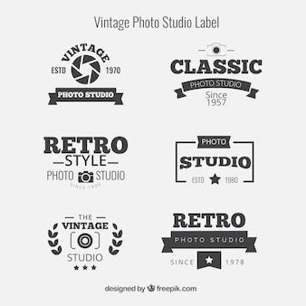 Sammlung von sechs retro-logos für die fotografie