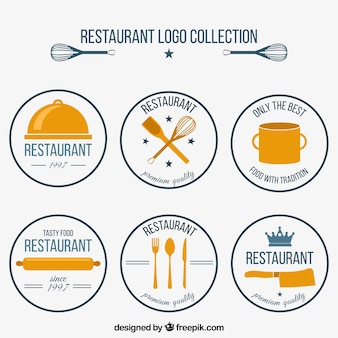 Sammlung von sechs runden restaurant-logos im retro-stil