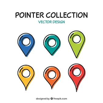 Sammlung von sechs zeiger mit verschiedenen farben