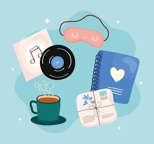 Sammlung von selbstpflegesymbolen