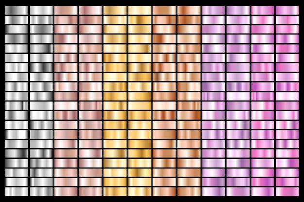Sammlung von silber, chrom, gold, roségold. bronze metallischer und ultravioletter gradient.