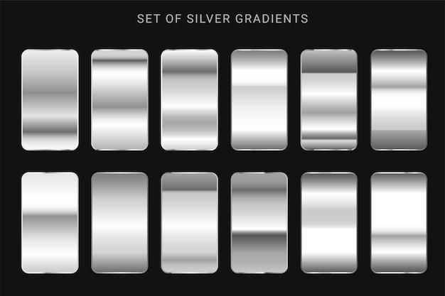 Sammlung von silbernen, chrommetallischen farbverläufen
