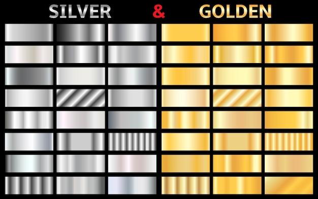 Sammlung von silbernen und goldenen farbverläufen